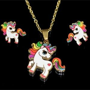 Jewelry - Rainbow unicorn necklace and earring set